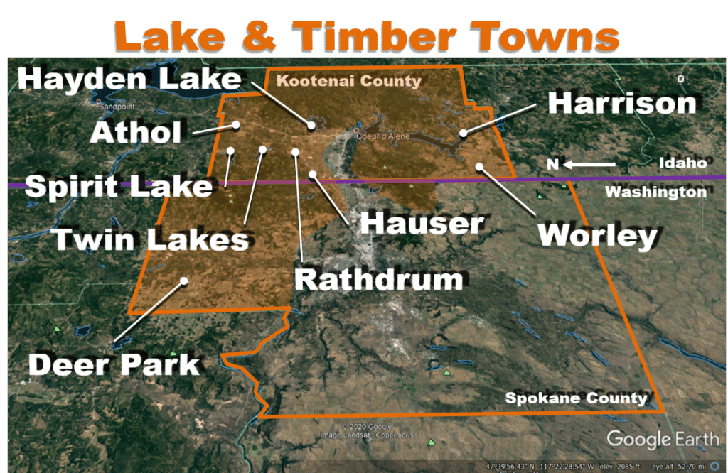 Metro Spokane Lake and Timber Towns